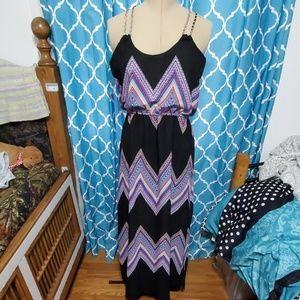 Chevron maxi dress with chain straps